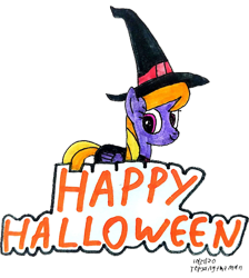Size: 2448x2730   Tagged: safe, artist:topsangtheman, cloud kicker, pegasus, pony, clothes, costume, halloween, holiday, looking at you, signature, simple background, solo, traditional art, transparent background, witch