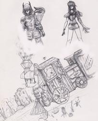 Size: 762x934 | Tagged: safe, artist:ioncorupterx, oc, oc:lilly bell, earth pony, object pony, original species, pony, train pony, train