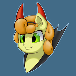 Size: 2000x2000 | Tagged: safe, artist:aquaticvibes, carrot top, golden harvest, earth pony, pony, blue background, bust, clothes, costume, female, mare, nightmare night costume, portrait, simple background, smiling, solo
