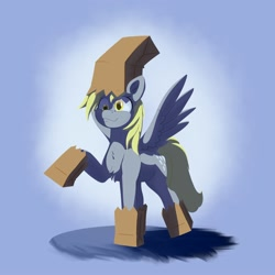 Size: 2000x2000 | Tagged: safe, artist:aquaticvibes, derpy hooves, pegasus, pony, chest fluff, clothes, costume, derp, female, mare, nightmare night costume, paper bag, paper bag wizard, raised hoof, simple background, smiling, solo