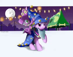 Size: 4136x3256 | Tagged: safe, artist:vinilyart, spike, twilight sparkle, dragon, unicorn, clothes, costume, cute, halloween, halloween costume, holiday, nightmare night, spikabetes, twiabetes, unicorn twilight