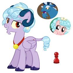 Size: 2000x2000 | Tagged: safe, artist:cherrycandi, cozy glow, grogar, hybrid, pegasus, base used, bell, cutie mark, fusion, genderless, hooves, horns, jewelry, necklace, unshorn fetlocks, wings