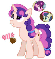 Size: 1500x1600 | Tagged: safe, artist:cherrycandi, bon bon, sugar belle, sweetie drops, unicorn, base used, candy, chocolate, cutie mark, female, food, fusion, mare, ponytail