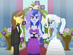 Size: 2917x2169 | Tagged: safe, artist:grapefruitface1, princess luna, trixie, oc, oc:grapefruit face, equestria girls, blushing, bowtie, canon x oc, clothes, dress, female, male, marriage, shipping, straight, trixie day, tuxedo, vice principal luna, wedding dress