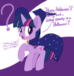 Size: 1458x1500 | Tagged: safe, artist:notadeliciouspotato, twilight sparkle, alicorn, pony, abstract background, cape, clothes, confused, costume, dialogue, female, frown, halloween, hat, holiday, mare, open mouth, question mark, raised hoof, solo, speech bubble, talking, witch costume, witch hat