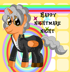 Size: 8047x8211 | Tagged: safe, artist:nupiethehero, oc, oc:nupie, alicorn, alicorn oc, anime, clothes, costume, crossover, halloween, halloween costume, holiday, horn, persona, persona 4, wings, yu narukami