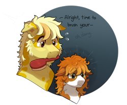Size: 780x650 | Tagged: safe, artist:lastnight-light, oc, oc only, oc:cheddar cheese, oc:colby jack, earth pony, pony, brush, colt, male, mouth hold