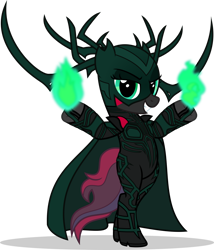 Size: 1280x1495 | Tagged: safe, artist:mlp-trailgrazer, oc, oc:crimson glow, pony, bipedal, clothes, cosplay, costume, hela odinsdottir, magic, simple background, solo, transparent background
