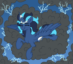 Size: 3500x3100   Tagged: safe, artist:pink-pone, oc, oc:storm song, alicorn, pony, cloud, female, lightning, mare, solo