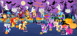 Size: 3164x1492   Tagged: safe, artist:mlp-silver-quill, artist:selenaede, artist:user15432, applejack, fluttershy, pinkie pie, rainbow dash, rarity, starlight glimmer, sunset shimmer, twilight sparkle, alicorn, bat, butterfly, butterfly pony, cat, earth pony, fairy, fairy pony, ghost, human, hybrid, original species, pegasus, pony, rabbit, spider, undead, unicorn, equestria girls, angel, angel costume, angel halo, angel rarity, angelic halo, angelic wings, animal, animal costume, antenna, antennae, apple daisy, barely eqg related, base used, black cat, boots, bunny costume, bunny ears, butterfly wings, candy, candy cane, candy corn, clothes, costume, crossover, crown, devil, devil costume, devil horns, dress, ear piercing, earring, equestria girls style, equestria girls-ified, fairies, fairies are magic, fairy costume, fairy princess, fairy princess outfit, fairy wings, fairyized, fingerless gloves, food, gloves, gown, halloween, halloween costume, hallowinx, halo, happy halloween, hat, headband, high heel boots, high heels, holiday, jack-o-lantern, jewelry, lollipop, moon, necklace, night, nightmare night, nintendo, pauline, piercing, ponyville, princess costume, princess daisy, princess peach, princess pinkie pie, princess rainbow dash, princess rosalina, princess twipeach, pumpkin, rainbow s.r.l, raripeach, regalia, rosalina, scarecrow, shoes, spider web, super mario bros., treats, truck, twilight sparkle (alicorn), whiskers, wings, winx, winx club, winxified, witch, witch costume, witch hat