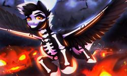 Size: 1392x838   Tagged: safe, artist:dolorosacake, pumpkin smoke, oc, pegasus, pony, skeleton pony, bats!, bone, commission, community related, halloween, holiday, hooves, pumpkin, skeleton, solo