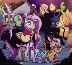 Size: 1600x1437   Tagged: safe, artist:inuhoshi-to-darkpen, discord, fluttershy, oc, oc:serenity, draconequus, hybrid, pegasus, chest fluff, clothes, costume, discoshy, ear fluff, female, halloween, halloween costume, holiday, interspecies offspring, male, offspring, open mouth, parent:discord, parent:fluttershy, parents:discoshy, shipping, straight, wing fluff