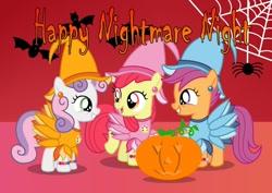 Size: 1280x906 | Tagged: safe, artist:tenderrain-art, apple bloom, scootaloo, sweetie belle, bat, earth pony, pegasus, pony, spider, unicorn, aiko seno, aiko senoo, clothes, costume, crossover, cutie mark crusaders, doremi, doremi harukaze, ear piercing, earring, halloween, happy halloween, happy nightmare night, hat, hazuki fujiwara, holiday, jack-o-lantern, jewelry, magical doremi, nightmare night costume, ojamajo doremi, piercing, pumpkin, spider web, witch, witch apprentice, witch costume, witch hat, witchling