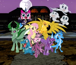 Size: 4366x3736 | Tagged: safe, artist:totodile007, fluttershy, gilda, princess ember, thorax, twilight sparkle, bat pony, totodile, anais watterson, bat ponified, blaze the cat, cartoon network, clothes, costume, crossover, darwin watterson, flutterbat, gumball watterson, halloween, halloween costume, holiday, nightmare night, pokémon, race swap, sonic the hedgehog (series), the amazing world of gumball, unikitty, unikitty! (tv series)
