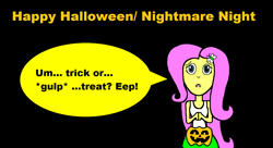 Size: 1374x748 | Tagged: safe, fluttershy, cute, halloween, holiday, nervous, nightmare night, pumpkin, trick or treat, vampire teeth