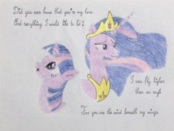 Size: 3264x2448 | Tagged: safe, artist:don2602, twilight sparkle, alicorn, pony, unicorn, mlp fim's tenth anniversary, bette midler, crown, happy birthday mlp:fim, jewelry, looking down, looking up, regalia, solo, song reference, traditional art, twilight sparkle (alicorn), wind beneath my wings