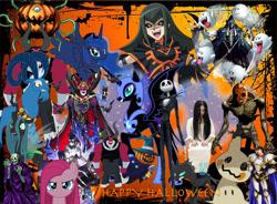Size: 1300x959 | Tagged: safe, grogar, lord tirek, nightmare moon, pinkie pie, princess luna, queen chrysalis, centaur, changeling, mimikyu, azami, boo (super mario), carly carmine, castlevania, crossover, death, digimon, female, grim reaper, halloween, holiday, jack skellington, luca blight, male, megami tensei, myotismon, pinkamena diane pie, pokémon, pumpking the king of ghosts, pyro jack, redead, samara morgan, shin megami tensei, skull servant, suikoden, super mario bros., the legend of zelda, the nightmare before christmas, the ring, xenoblade chronicles, xenoblade chronicles 2, yu-gi-oh!, yu-gi-oh! 5d's