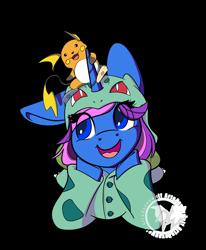 Size: 1600x1944 | Tagged: safe, artist:humble-ravenwolf, artist:ravenhoof, artist:winxc1ub, oc, oc:harmony sketch, bulbasaur, raichu, unicorn, clothes, cute, female, mare, pajamas, plushie, pokémon