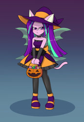 Size: 1100x1600 | Tagged: safe, artist:mew-me, aria blaze, equestria girls, angry, ariabetes, bare shoulders, bucket, candy, clothes, costume, cute, food, gradient background, grumpy, halloween, halloween costume, holiday, madorable, pumpkin bucket, simple background, sleeveless, strapless, trick or treat, tsundaria, tsundere