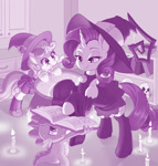 Size: 1280x1338 | Tagged: safe, artist:dstears, rarity, spike, sweetie belle, dragon, unicorn, book, candle, cauldron, clothes, costume, cute, diasweetes, digital art, female, filly, halloween, halloween costume, hat, holiday, nightmare night, skull, smiling, spellbook, witch, witch hat