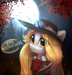 Size: 2016x2100 | Tagged: safe, artist:reterica, oc, oc only, bird, pony, unicorn, bust, clothes, costume, cut, dialogue, eye clipping through hair, eyebrows, eyebrows visible through hair, female, forest, glowing horn, halloween, halloween costume, hat, holiday, horn, magic, mare, moon, night, portrait, scenery, smiling at you, solo, tree, van helsing