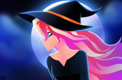 Size: 3664x2382 | Tagged: safe, artist:xan-gelx, sunset shimmer, equestria girls, clothes, costume, halloween, halloween costume, hat, holiday, witch, witch hat