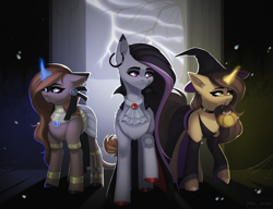 Size: 2600x2000   Tagged: safe, artist:villjulie, oc, oc only, oc:amiona, oc:gray rain, oc:night mirage, earth pony, pony, unicorn, vampire, clothes, costume, ear piercing, earring, earth pony oc, eyeshadow, fangs, female, halloween, halloween costume, hat, holiday, horn, huge mane, interior, intersex, jewelry, lightning, makeup, male, multicolored hair, piercing, pumpkin, standing, tree, unicorn oc, witch costume, witch hat