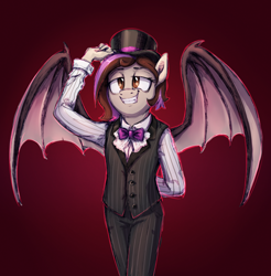 Size: 1894x1922 | Tagged: safe, artist:thebowtieone, oc, oc:bowtie, vampire, anthro, clothes, female, hat, pants, solo, top hat, vest