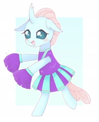 Size: 1560x1920 | Tagged: safe, artist:tstivv, ocellus, changedling, changeling, bipedal, blushing, cheerleader, cheerleader outfit, clothes, cute, diaocelles, female, open mouth, pom pom, solo