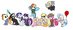 Size: 1417x596   Tagged: safe, artist:ichiban-iceychan1517, artist:kb-gamerartist, color edit, edit, applejack, derpy hooves, fluttershy, pinkie pie, rainbow dash, rarity, starlight glimmer, sunset shimmer, trixie, twilight sparkle, alicorn, earth pony, ghost, pegasus, pony, undead, unicorn, alternate hairstyle, apron, balloon, billy, bowtie, claw, cloak, clothes, clown, clown nose, collaboration, colored, comments locked down, cosplay, costume, crossover, dress, eyes closed, face paint, fedora, flying, freddy krueger, friday the 13th, gag, ghostface, gloves, glowing horn, graveyard of comments, grin, halloween, halloween (movie), hannibal lecter, hat, hockey mask, holiday, hoof hold, horn, it, jacket, jason voorhees, jigsaw, jumpsuit, knife, leatherface, levitation, machete, magic, mane six, mask, michael myers, mrs lovett, muzzle, muzzle gag, necktie, nightmare on elm street, open mouth, pennywise, raised hoof, raised leg, sadako, sadako yamamura, samara, samara morgan, saw (movie), scream (movie), screaming, shirt, silence of the lambs, simple background, skirt, smiling, socks, stockings, straitjacket, striped sweater, suit, sweater, sweeney todd, t-shirt, tanktop, telekinesis, the ring, the texas chainsaw massacre, thigh highs, torn clothes, transparent background, twilight sparkle (alicorn), wall of tags