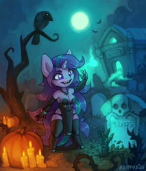 Size: 1022x1200 | Tagged: safe, artist:asimos, starlight glimmer, bird, crow, unicorn, anthro, unguligrade anthro, breasts, candle, cleavage, clothes, costume, graveyard, halloween, halloween costume, holiday, moon, necromancy, night, pumpkin, sexy, solo