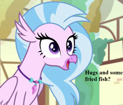 Size: 840x720 | Tagged: safe, edit, edited screencap, screencap, silverstream, uprooted, bronybait, cropped, cute, diastreamies, flipped image, hug request, jewelry, necklace, ponyville, speech, talking