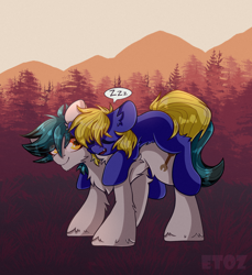 Size: 2200x2400 | Tagged: safe, artist:etoz, oc, oc only, oc:ironsides, oc:spore, earth pony, pony, commission, cute, earth pony oc, forest, grass, happy, lying, lying down, lying on top of someone, male, mountain, sky, sleeping, snore, stallion, tree