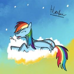Size: 1080x1080   Tagged: safe, artist:haekal20, rainbow dash, pegasus, pony, cloud, female, mare, solo, stars, tired, yawn