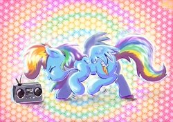 Size: 1754x1240 | Tagged: safe, artist:avui, rainbow dash, pegasus, pony, crush 40, cute, dancing, dashabetes, eyes closed, featured image, female, inktober 2020, mare, music, open mouth, radio, smiling, solo, spread wings, sweet dreams fuel, wings