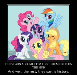 Size: 1509x1472 | Tagged: safe, edit, edited screencap, screencap, applejack, fluttershy, pinkie pie, rainbow dash, rarity, twilight sparkle, earth pony, pegasus, pony, unicorn, mlp fim's tenth anniversary, female, group photo, happy birthday mlp:fim, mane six, mane six opening poses, mare, meme, pony history, start of ponies, unicorn twilight