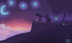 Size: 854x512   Tagged: safe, artist:dreamyskies, oc, oc only, oc:dreamer skies, pegasus, pony, 3ds, moon, night, pegasus oc, pony oc, skies, solo, stars, telescope, tree, wings