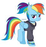 Size: 1174x1200 | Tagged: safe, artist:jennieoo, rainbow dash, pegasus, pony, bracelet, clothes, college, ear piercing, earring, hoodie, jewelry, piercing, ponytail, raised leg, simple background, smiling, solo, transparent background, vector