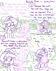 Size: 4779x6013 | Tagged: safe, artist:adorkabletwilightandfriends, spike, starlight glimmer, dragon, pony, unicorn, comic:adorkable twilight and friends, adorkable, adorkable friends, advice, butt, character development, comic, crying, cute, dimples, dimples of venus, dork, female, forest, friendship, helpful, hug, lake, love, male, mare, nature, outdoors, plot, reassurance, relationship, relationships, sitting, slice of life, support, wingding eyes
