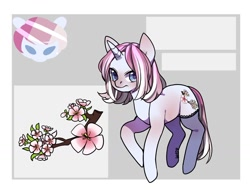 Size: 1280x974 | Tagged: safe, oc, oc only, pony, unicorn, abstract background, bust, clothes, duo, flower, frown, horn, reference sheet, signature, simple background, socks, unicorn oc, white background