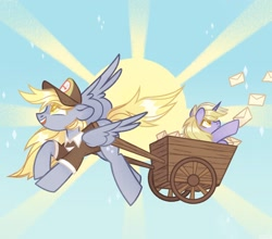 Size: 2048x1804   Tagged: safe, artist:n in a, derpy hooves, dinky hooves, pegasus, pony, unicorn, colored pupils, equestria's best mother, female, mother and child, mother and daughter, sun, wagon