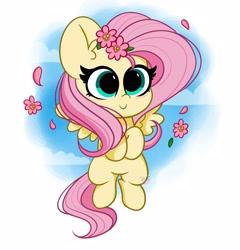 Size: 3456x3600   Tagged: safe, artist:kittyrosie, fluttershy, pegasus, pony, cute, digital art, female, flower, flower in hair, mare, shyabetes, smiling, solo