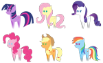 Size: 2087x1268 | Tagged: safe, artist:thebenalpha, applejack, fluttershy, pinkie pie, rainbow dash, rarity, twilight sparkle, alicorn, earth pony, pegasus, pony, unicorn, applejack's hat, bbbff, cowboy hat, hat, mane six, pointy ponies, simple background, transparent background, twilight sparkle (alicorn)