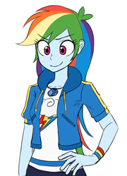 Size: 884x1230 | Tagged: safe, artist:haibaratomoe, rainbow dash, equestria girls, equestria girls series, cute, dashabetes, eye clipping through hair, eyebrows, eyebrows visible through hair, female, geode of super speed, hand on hip, magical geodes, simple background, smiling, solo, white background