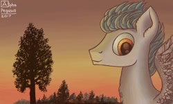 Size: 854x512 | Tagged: safe, artist:dreamyskies, artist:dreamyskiesarts, oc, oc:niveous, pegasus, pony, 3ds, big eyes, bust, complex background, detailed, detailed background, forest, forest background, looking at you, pegasus oc, pony oc, portrait, scenery, signature, smiling, spread wings, sunset, tree, wings