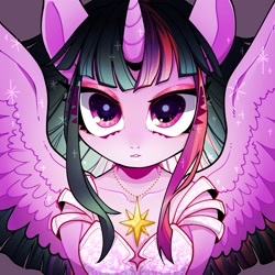 Size: 1500x1500 | Tagged: safe, artist:bbtasu, twilight sparkle, alicorn, semi-anthro, bust, clothes, cute, cutie mark accessory, dress, female, gown, jewelry, looking at you, necklace, solo, spread wings, twiabetes, twilight sparkle (alicorn), wings