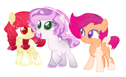Size: 2585x1585 | Tagged: safe, artist:thieeur-nawng, apple bloom, scootaloo, sweetie belle, earth pony, pegasus, pony, unicorn, alternate design, alternate hairstyle, base used, coat markings, cutie mark crusaders, dappled, hat, open mouth, raised hoof, redesign, simple background, smiling, unshorn fetlocks, white background