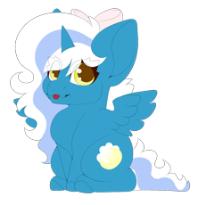 Size: 1280x1178 | Tagged: safe, artist:oneiriceye, oc, oc:fleurbelle, alicorn, adorabelle, alicorn oc, bow, chibi, female, hair bow, horn, mare, simple background, tongue out, transparent background, wings, yellow eyes