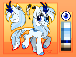 Size: 2565x1914 | Tagged: safe, artist:sickly-sour, oc, oc only, oc:code quill, kirin, pony, blue eyes, chest fluff, color palette, colored hooves, commission, kirin oc, leg fluff, leonine tail, male, ponysona, quill, raised hoof, reference sheet, simple background, smiling, solo