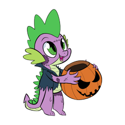 Size: 800x800   Tagged: safe, artist:casualcolt, spike, dragon, basket, clothes, costume, cute, frankenstein's monster, halloween, halloween costume, holiday, jack-o-lantern, male, pumpkin, simple background, solo, spikabetes, stitches, transparent background